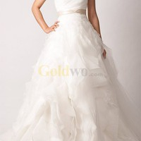 [US$438.98] White A-line Court Train Sash Satin Organza Ruffle Wedding Dress