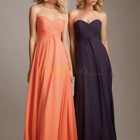 [US$168.99] A-Line Sweetheart Floor Length Pleated Chiffon Bridesmaid Dress