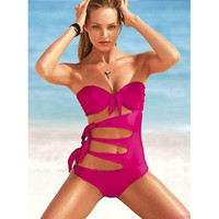 One Piece Bathing Suits Pink Sexy Bikini Swimming Suits for Women