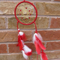 Red and White Authentic Native Dreamcatcher, small dream catcher 5 inch diameter
