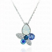 Multicolor Teardrop And Round Austria Swarovski Crystal Pendant Silver Necklace - Swarovski Necklaces - Necklaces - Jewelry