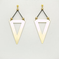 Geometric Triangle Earrings - Black Chain - Modern Brass Jewelry