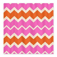 Pink and Orange Chevron Shower Curtain> Bed and Bath> After My Art by Catherine Holcombe
