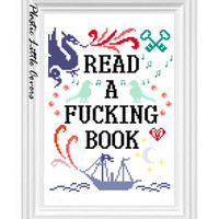 Cross Stitch Pattern - Read a F-ing Book