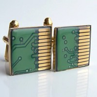 Circuit Board Cuff Links Gold and Green Groomsmen Gift | VioletsnewVintage - Jewelry on ArtFire