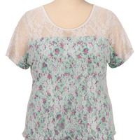 Short Sleeve Floral Print Lace Top