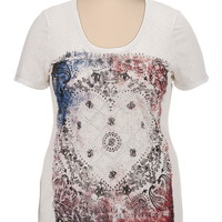 Maurices Premium Lace Heart Bandana Screen Print Tee