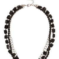 Chain and Textured Bead Necklace