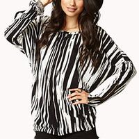 Abstract Stripe Zipper Top