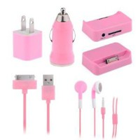 Amazon.com: YIKING 5 in 1 Car Charger Adapter Earphone Accessories Travel Kit for Iphone 3G 3GS 4 4G 4S iPod-Pink: Cell Phones & Accessories