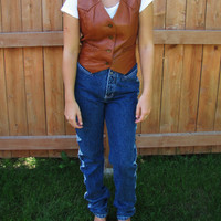 vintage cognac leather western vest. The Leatherman of California. size XS. vintage cowgirl leather vest