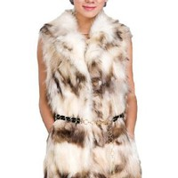 Amazon.com: Queenshiny Long Women's 100% Real Genuine Raccoon Fur Vest With Raccoon Collar: Clothing