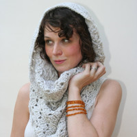 Cowl Scarf Women's Crochet Snood Scarf /The Kensington/ Linen
