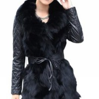 Amazon.com: Queenshiny Long Women's Sheepskin Fox Fur Coat With Fox Collar: Clothing