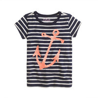 Girls' stripe sequin anchor tee - short-sleeve tees - Girl's knits & tees - J.Crew