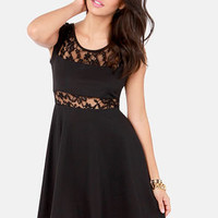 Peeks of Mine Lace Black Dress
