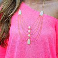 Chandelier Necklace: Ivory/Gold | Hope's