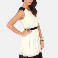 Pintucks Everlasting Black and Ivory Dress