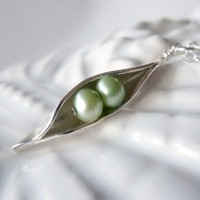 Peas In The Pod Necklace, Two Peas, Mothers Necklace | LexiandGem - Jewelry on ArtFire