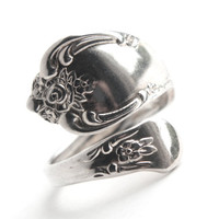 Vintage Spoon Ring - Adjustable Silver Plated Signed WMA Rogers Oneida Ltd. Retro Flatware Jewelry / Vanessa Magnolia