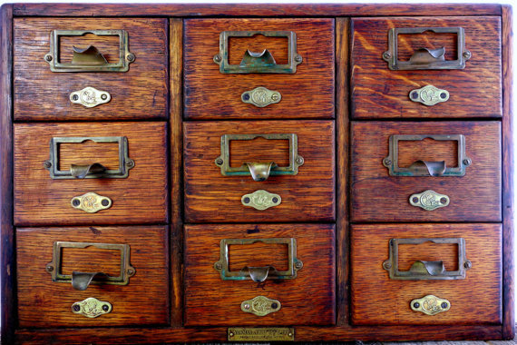 Vintage Library Card Catalog Yawman And From Prosserbrosvtg On