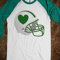 Football Helmet & Heart green / green