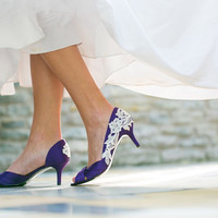 Wedding Shoes - Purple Wedding Shoes, Purple Bridal Heels with Ivory Lace. US Size 7.5