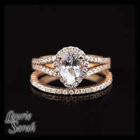 14kt Rose Gold Pear Cut White Sapphire Wedding Set with Diamond Wedding Band - LS2841