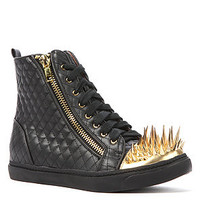 Jeffrey Campbell Sneaker Adams Spike in Black Quilted Leather with Gold Spikes