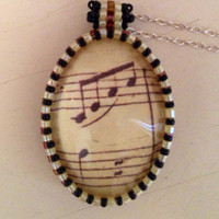 Music Pendant Music Necklace Music Note Necklace by picassogiraffe
