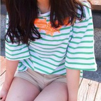 Oversized Green Stripe Print T-shirt with Contrast Embroidered Print