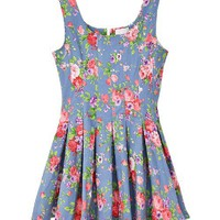 Vintage Floral Print Denim Tank Dress