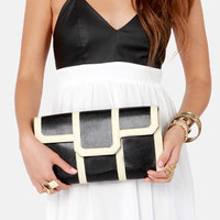 Clutch of Class Black and Cream Clutch