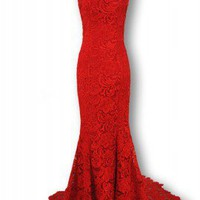 Alluring Chinese-Style Cheongsam Mermaid Mandarin Collar Red Lace Wedding Dress