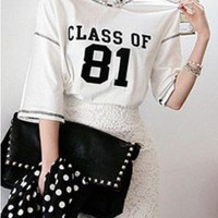 CLASS OF 81 Print T-shirt with High Low Hem in White
