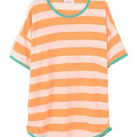 Neon Stripe T-shirt with Contrast Piping