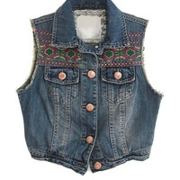 Dark Blue High Low Hem Cropped Denim Vest with Embroidered Print
