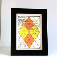 Geometric tribal OOAK sigil painting on 4x6 inch recycled paper - Argyle