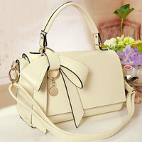 Beige Bowknot Leather Bag