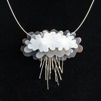 Silver Rain Clouds Necklace Silver Lining by NIKJewelry on Etsy