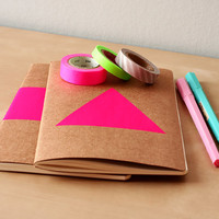 Neon Pink Triangle Notebook - Handpainted Geometric Moleskine - A5 B5 Journal Neon pink