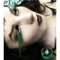 A'Flutter - Exotic Emerald Green Peacock Feather Eyelashes w/ Swarovski Crystals - By Moonshine Baby