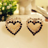 Heart to Heart Rhinestone Fashion Earrings | LilyFair Jewelry