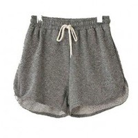 Drawstring Waist Sweat Short in Grey