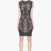 Alexander McQueen Black And Beige Printed Honeycomb Jersey Dress for women | SSENSE