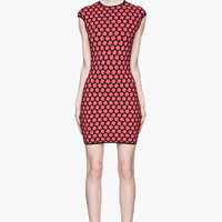 Alexander McQueen Red And Black Knit Honeycomb Jacquard Dress for women | SSENSE