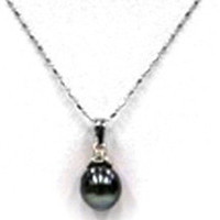 Natural Tahitian Cultured Pearl Silver Pendant w chain