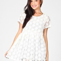 White Floral Mini Dress with Mesh Overlay & Keyhole Back