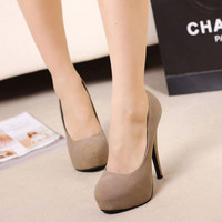 Women's Trendy New High Heel Platform Elegant Suede Shoes Black Apricot
