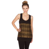 Karina Grimaldi Margarita Beaded Black Tank